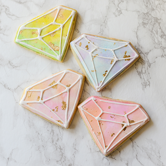 Watercolor Gold Leaf Cookies